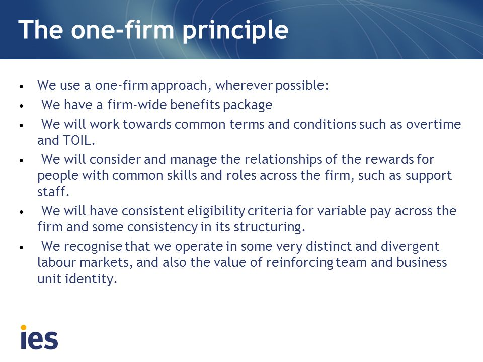 The one-firm principle