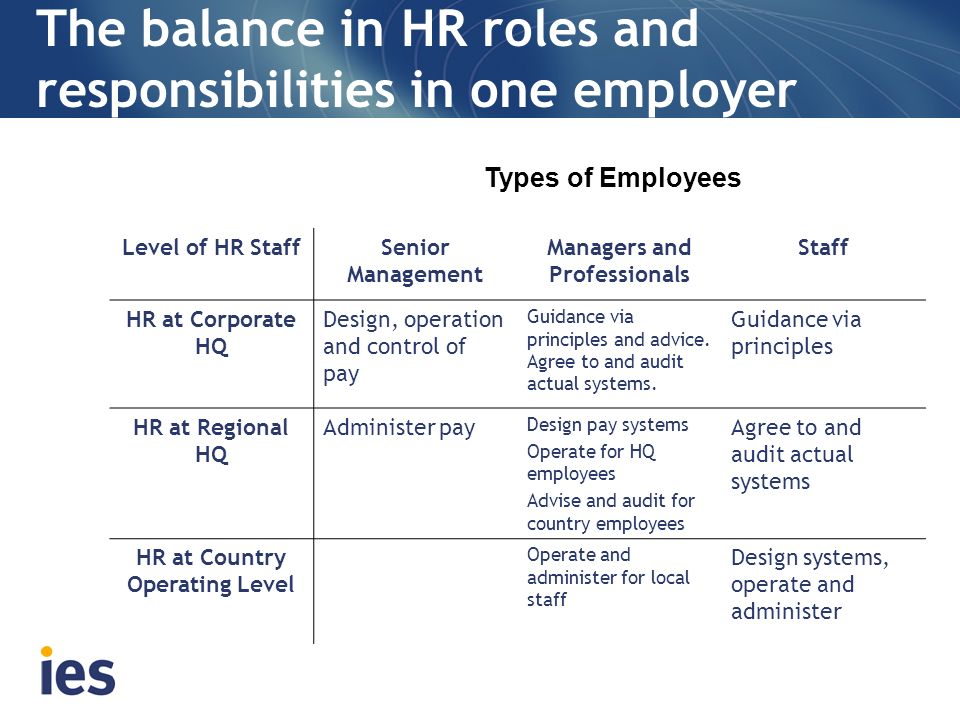The balance in HR roles and responsibilities in one employer