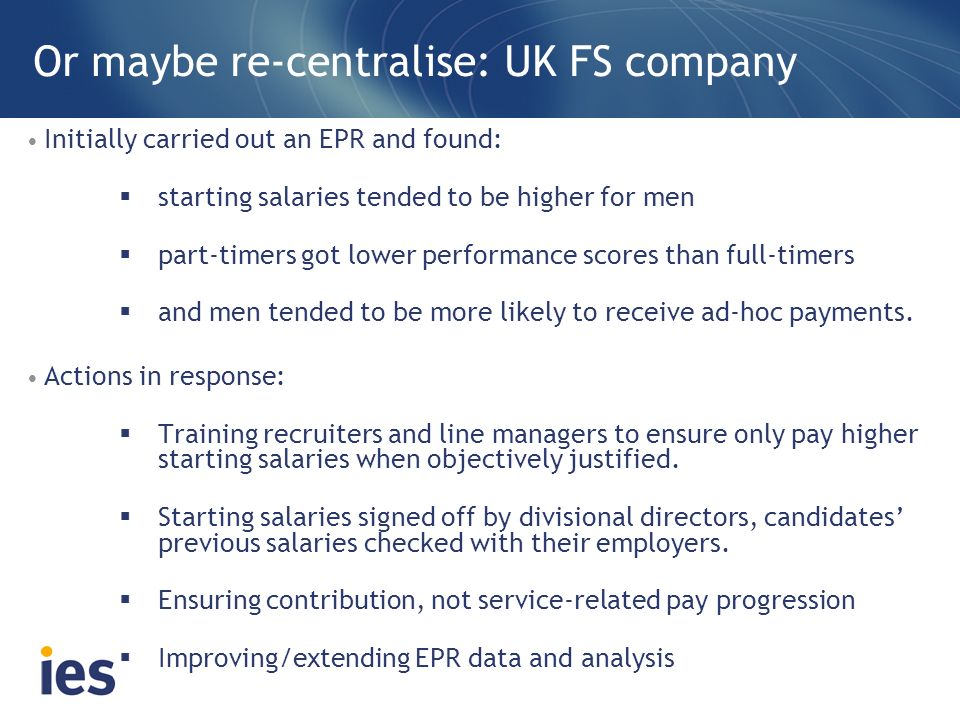 Or maybe re-centralise: UK FS company