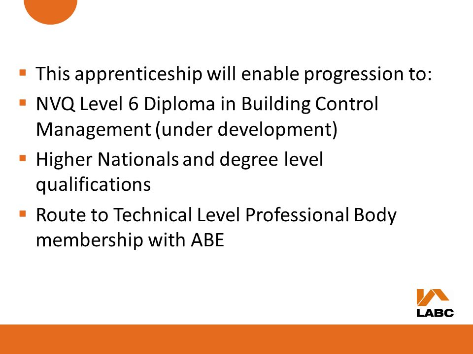 This apprenticeship will enable progression to: