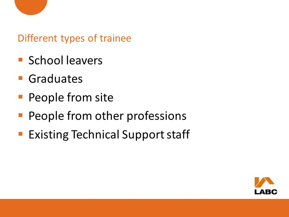 Different types of trainee