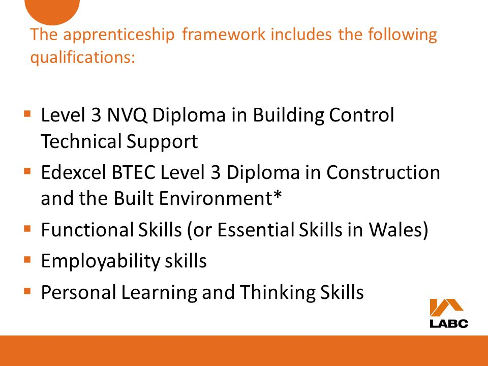 The apprenticeship framework includes the following qualifications:
