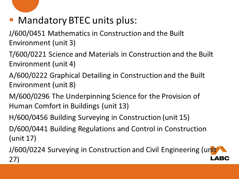 Mandatory BTEC units plus:
