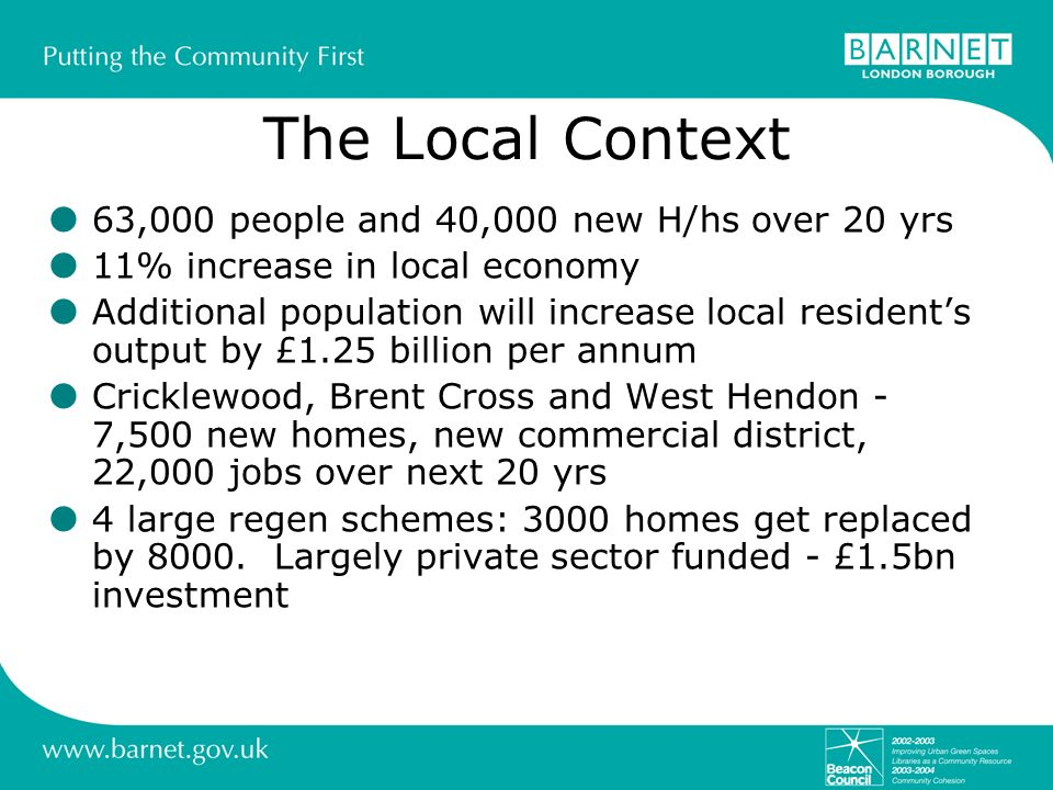 The Local Context 63,000 people and 40,000 new H/hs over 20 yrs