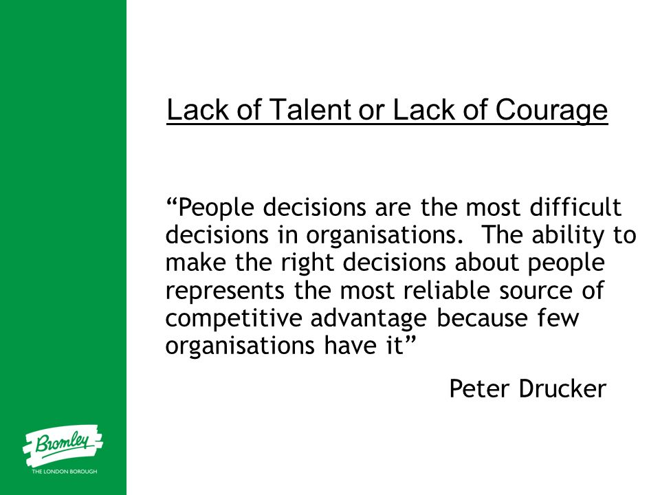Lack of Talent or Lack of Courage