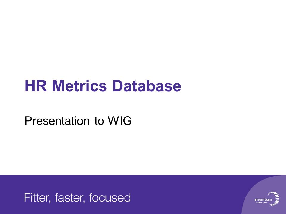 HR Metrics Database Presentation to WIG