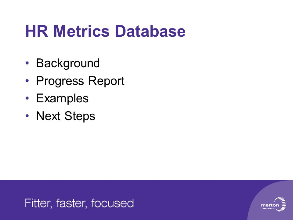 HR Metrics Database Background Progress Report Examples Next Steps
