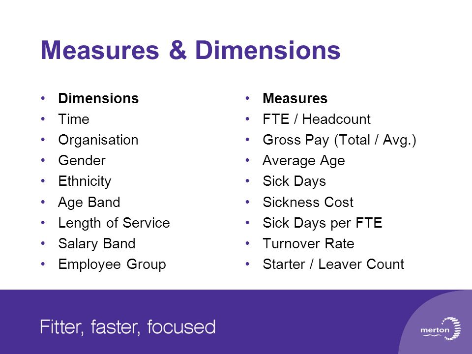 Measures & Dimensions Dimensions Time Organisation Gender Ethnicity