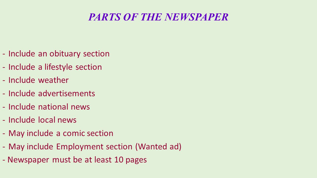Parts Of A Newspaper Zrom