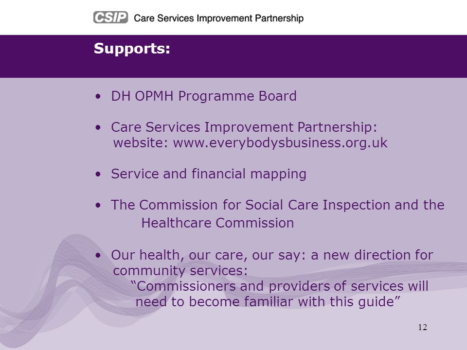 Supports: DH OPMH Programme Board