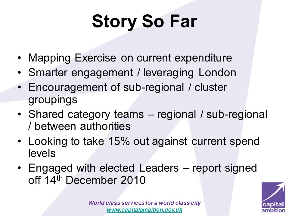 Story So Far Mapping Exercise on current expenditure