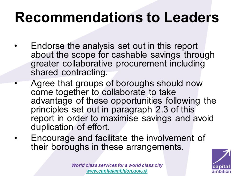 Recommendations to Leaders