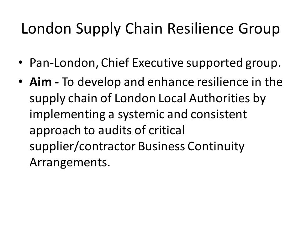 London Supply Chain Resilience Group