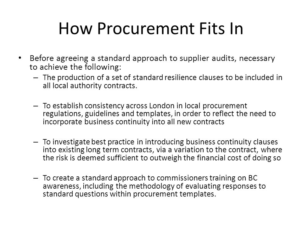 How Procurement Fits In