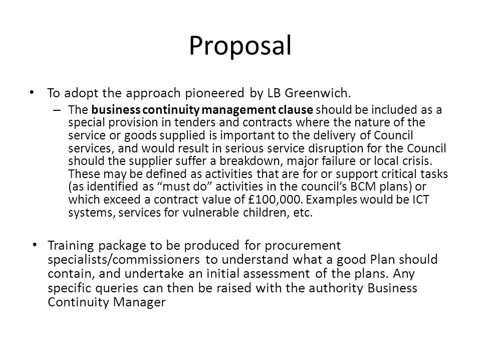 Proposal To adopt the approach pioneered by LB Greenwich.
