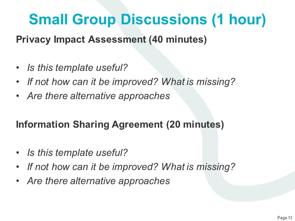 Small Group Discussions (1 hour)