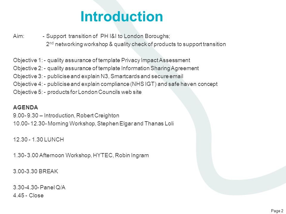 Introduction Aim: - Support transition of PH I&I to London Boroughs;