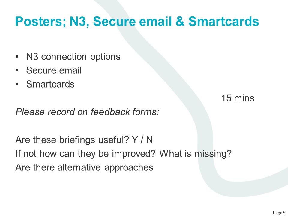 Posters; N3, Secure email & Smartcards