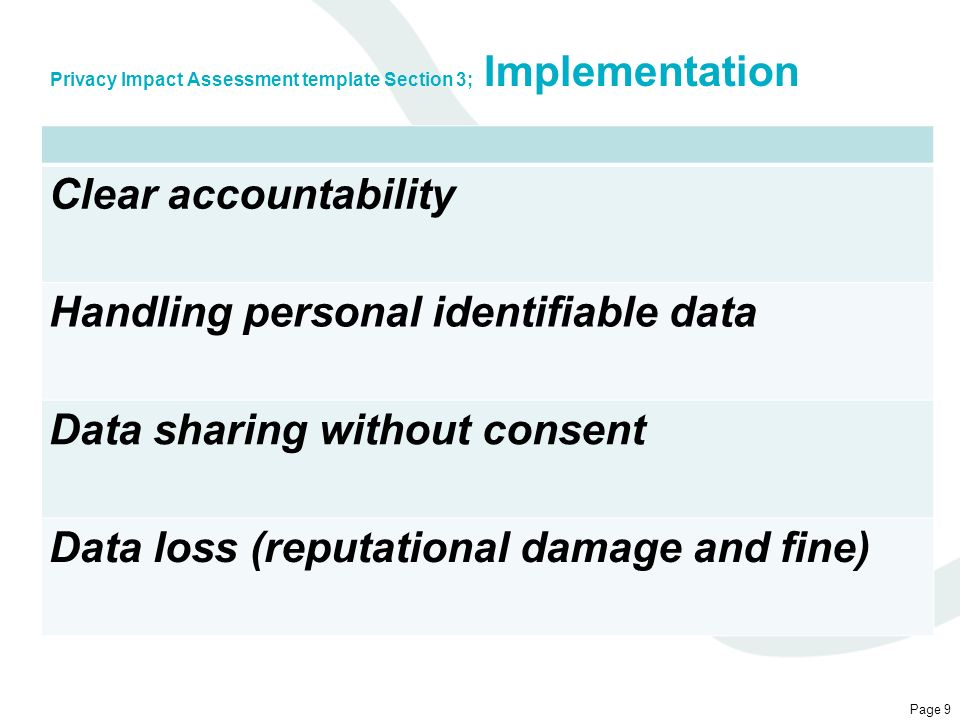 Privacy Impact Assessment template Section 3; Implementation