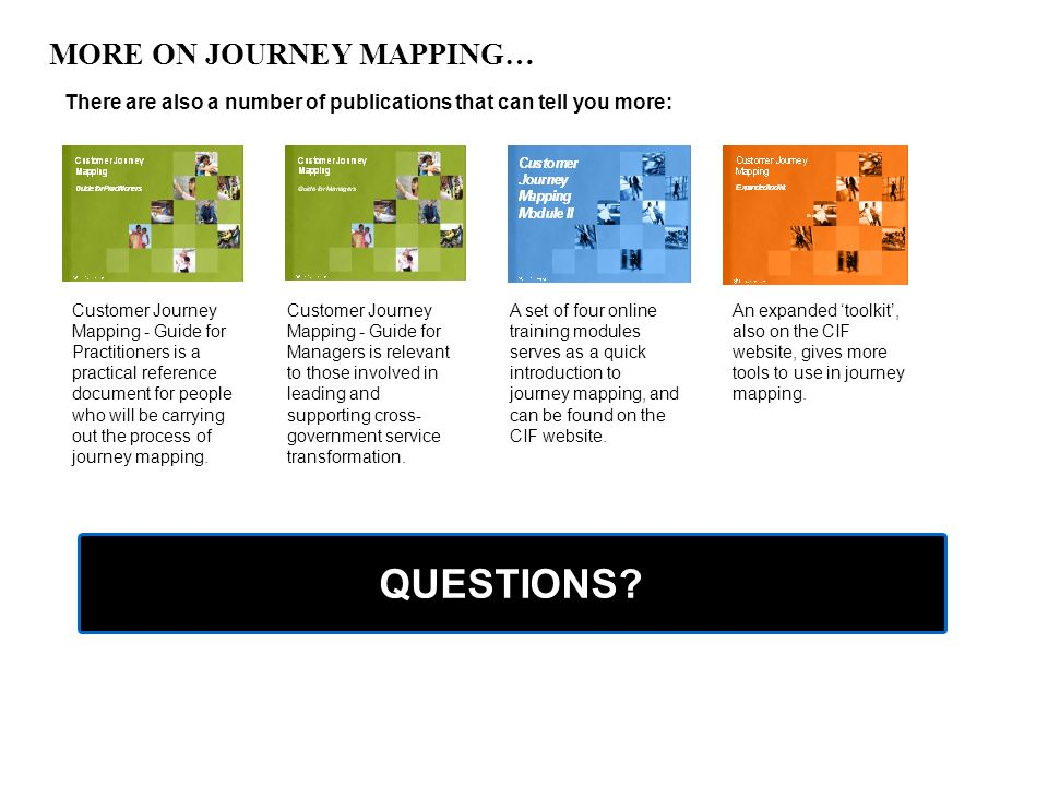 QUESTIONS MORE ON JOURNEY MAPPING…