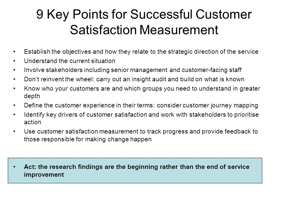 9 Key Points for Successful Customer Satisfaction Measurement