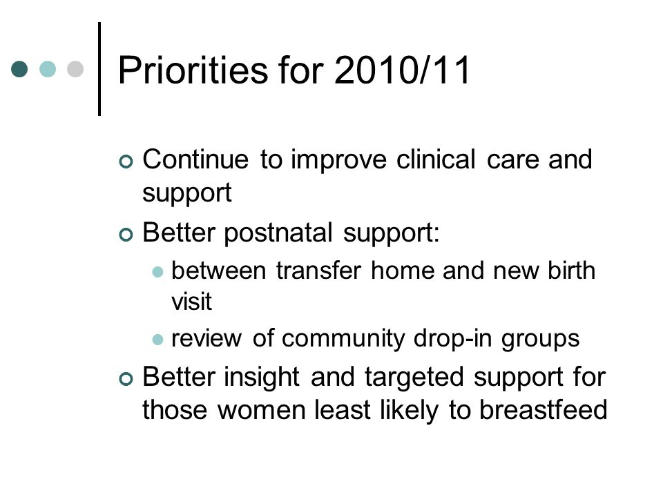 Priorities for 2010/11 Continue to improve clinical care and support
