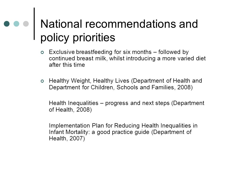 National recommendations and policy priorities