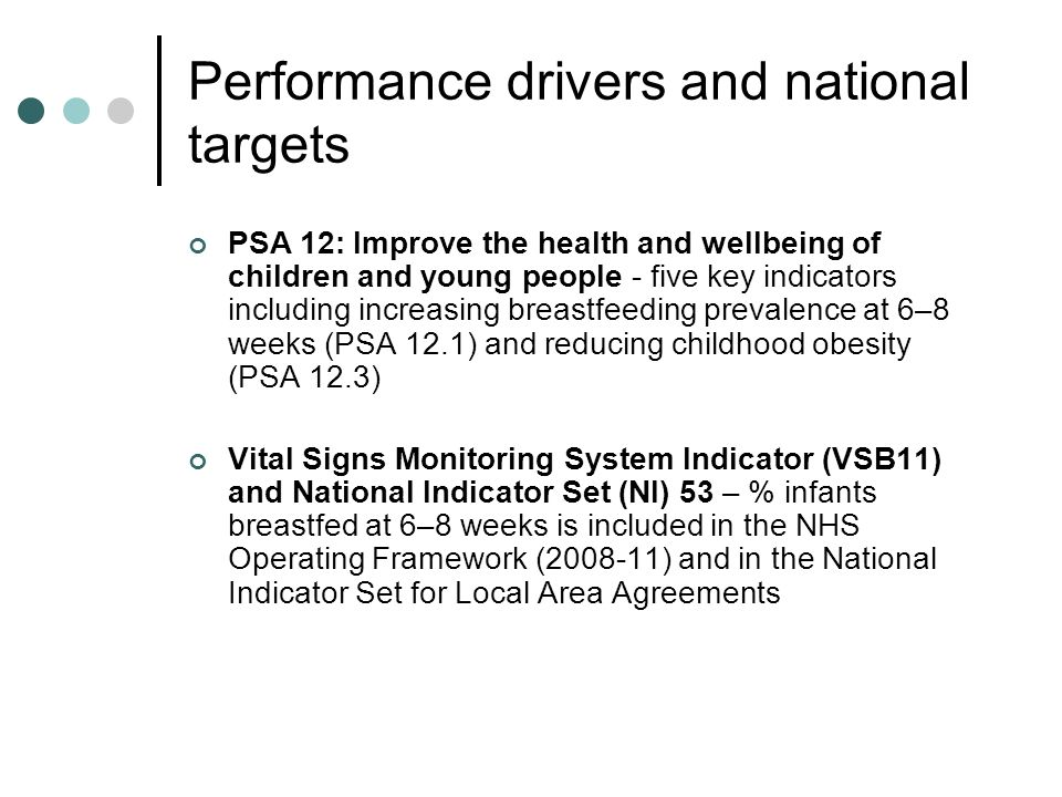 Performance drivers and national targets