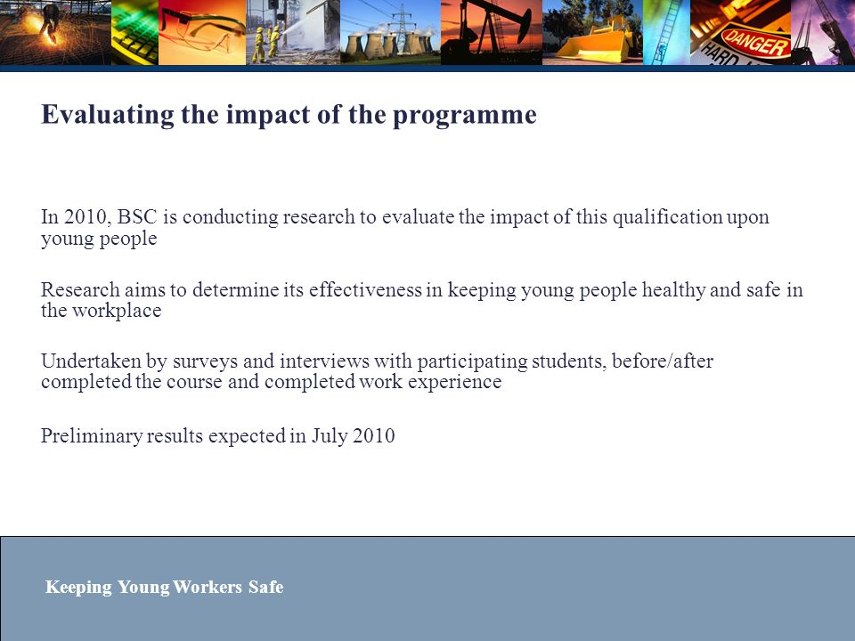Evaluating the impact of the programme