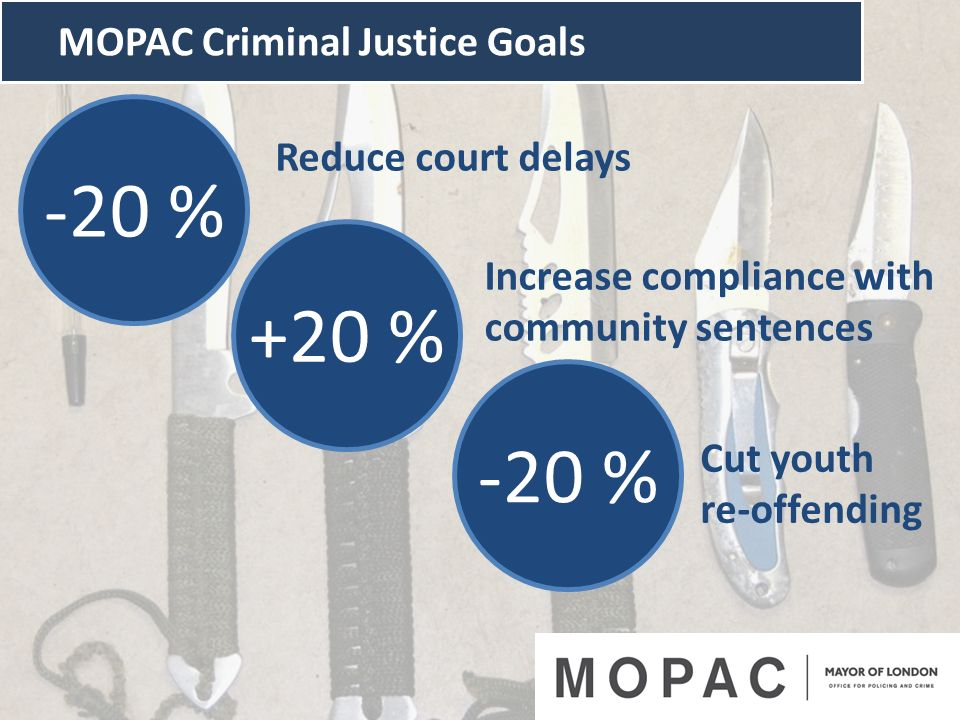 -20 % +20 % -20 % MOPAC Criminal Justice Goals Reduce court delays