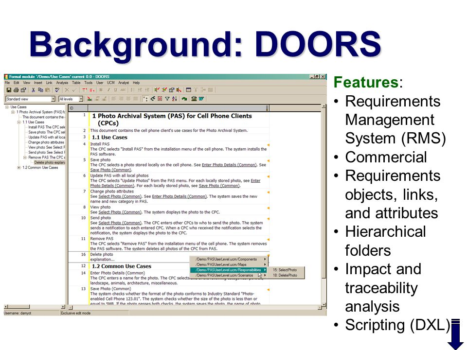 Background DOORS Features Requirements Management System (RMS)  sc 1 st  SlidePlayer & Abstract Use Case Map (UCM) scenarios are useful for elicitation ...