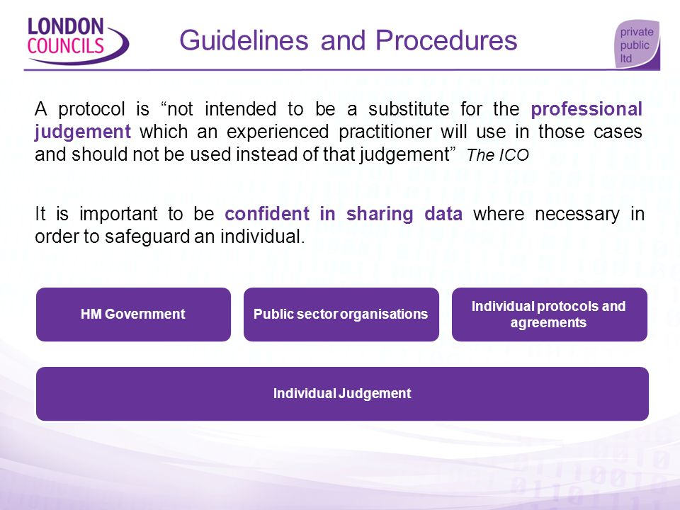Public sector organisations Individual protocols and agreements