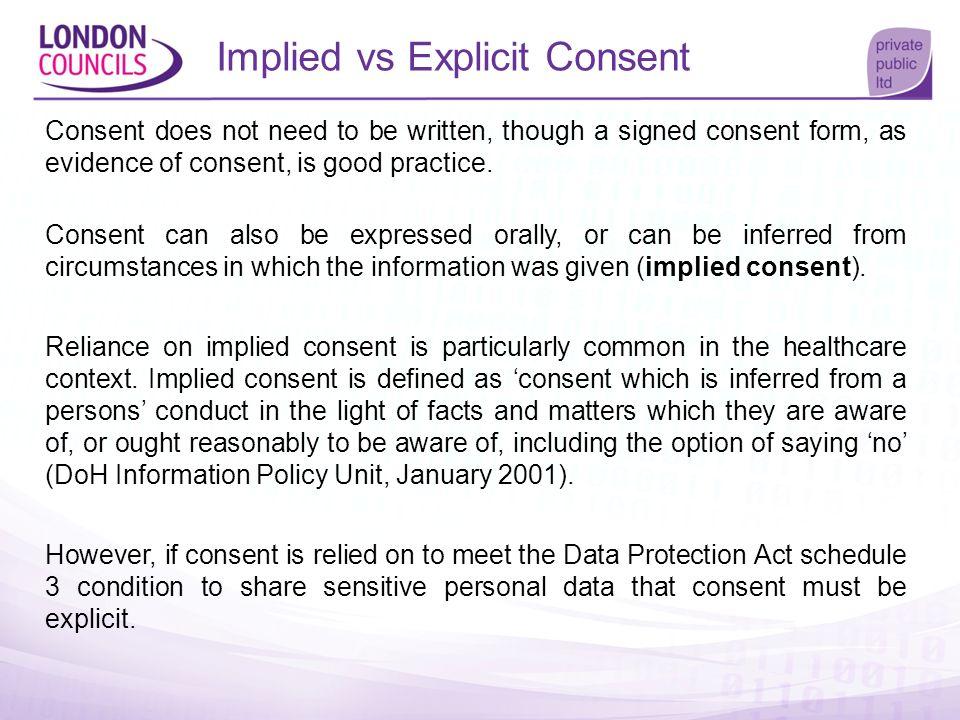 Implied vs Explicit Consent