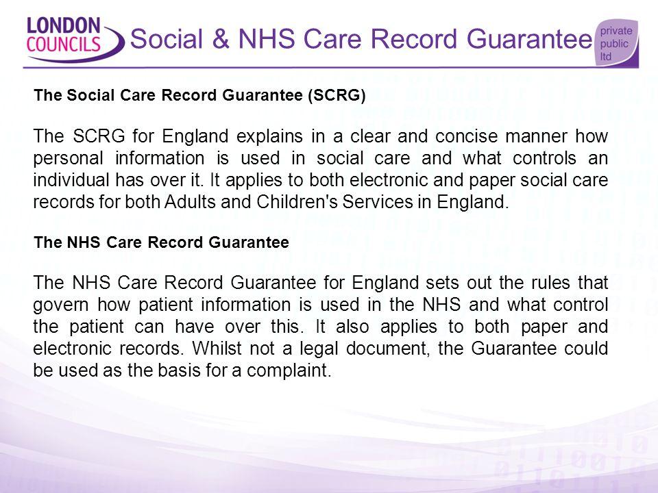 Social & NHS Care Record Guarantee