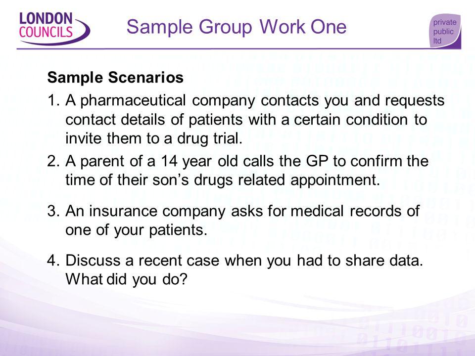 Sample Group Work One Sample Scenarios