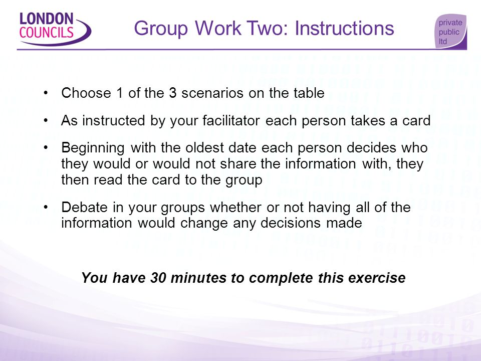 Group Work Two: Instructions