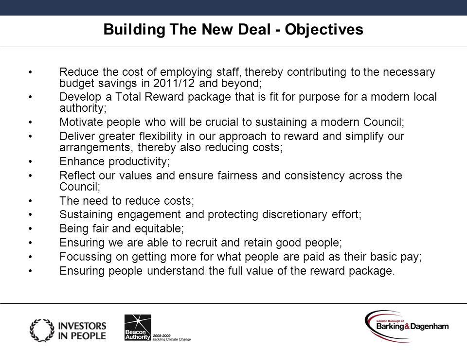 Building The New Deal - Objectives