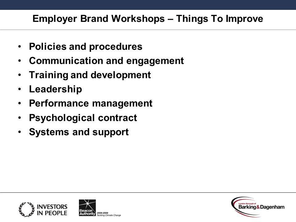 Employer Brand Workshops – Things To Improve