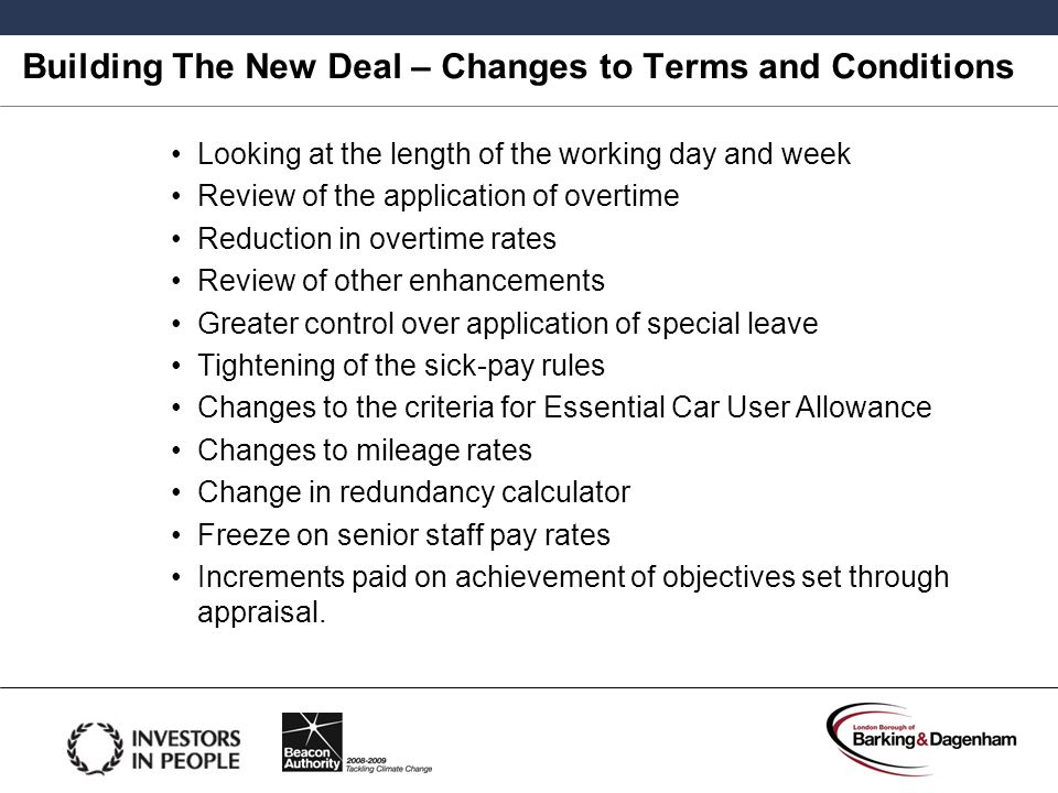 Building The New Deal – Changes to Terms and Conditions