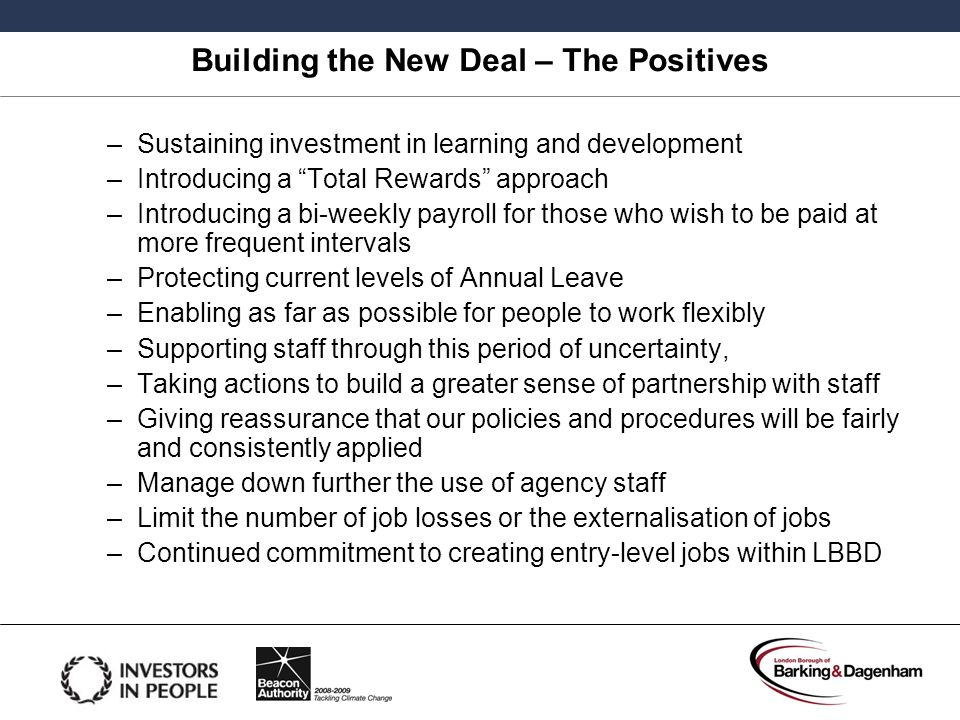 Building the New Deal – The Positives