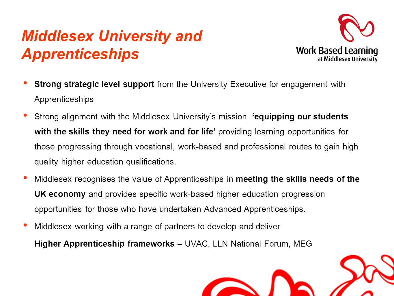 Middlesex University and Apprenticeships