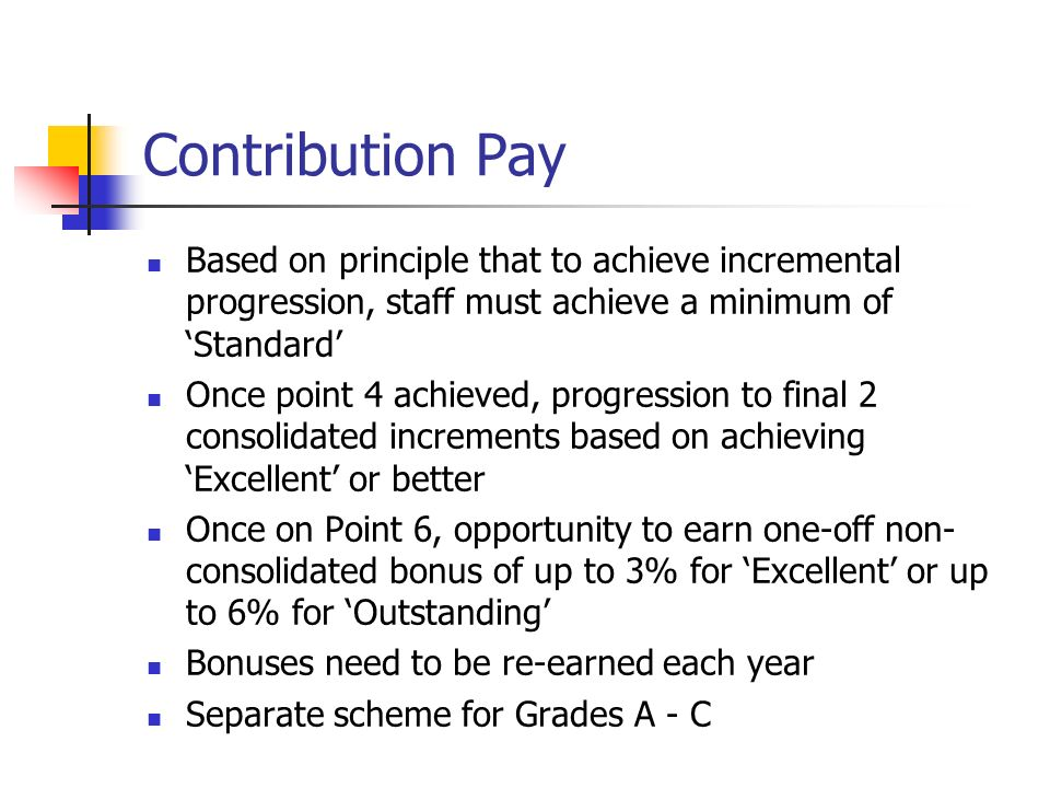 Contribution Pay Based on principle that to achieve incremental progression, staff must achieve a minimum of 'Standard'