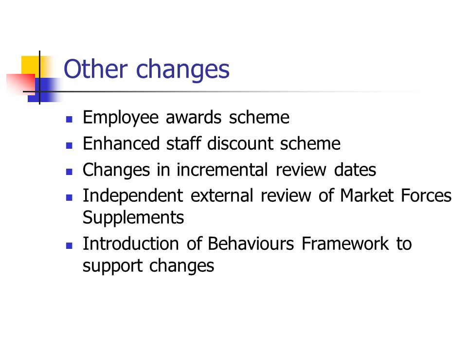 Other changes Employee awards scheme Enhanced staff discount scheme