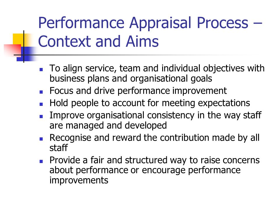 Performance Appraisal Process – Context and Aims