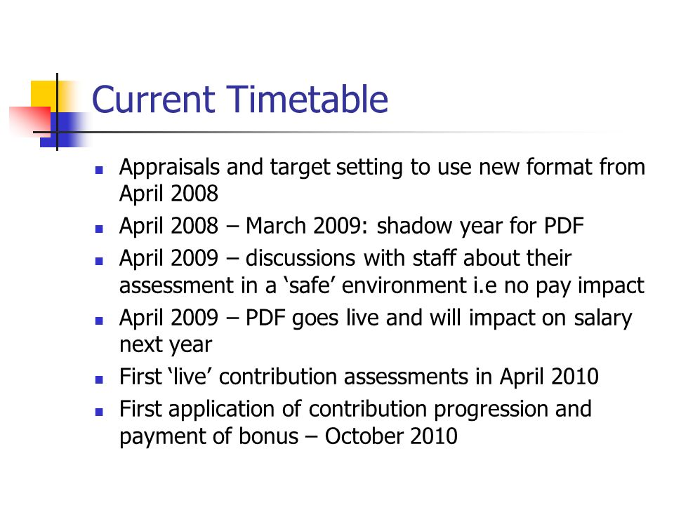 Current Timetable Appraisals and target setting to use new format from April 2008. April 2008 – March 2009: shadow year for PDF.