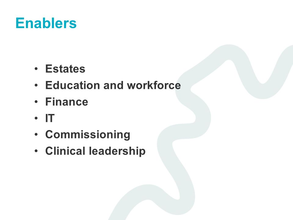 Enablers Estates Education and workforce Finance IT Commissioning