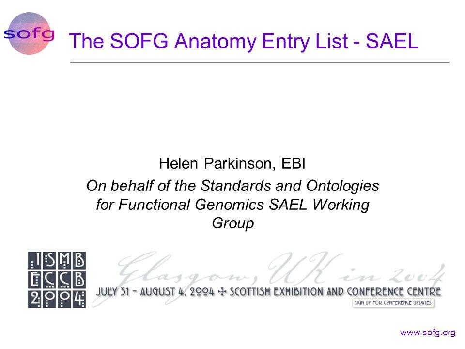 The SOFG Anatomy Entry List - SAEL
