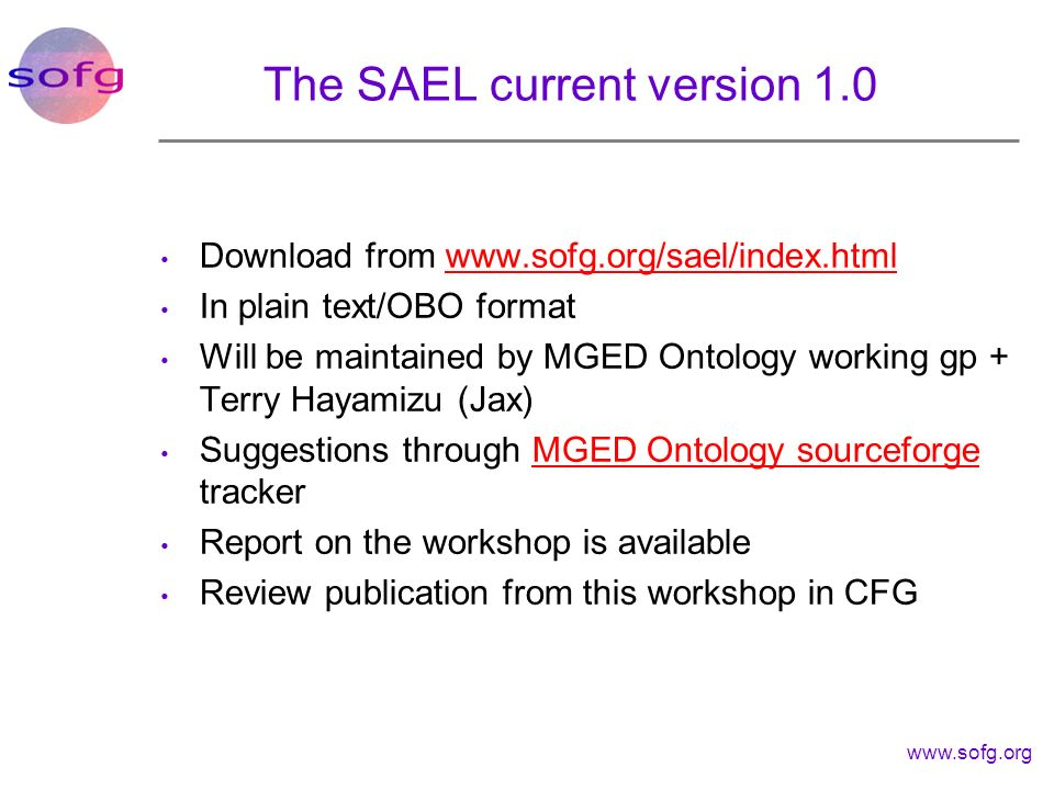 The SAEL current version 1.0