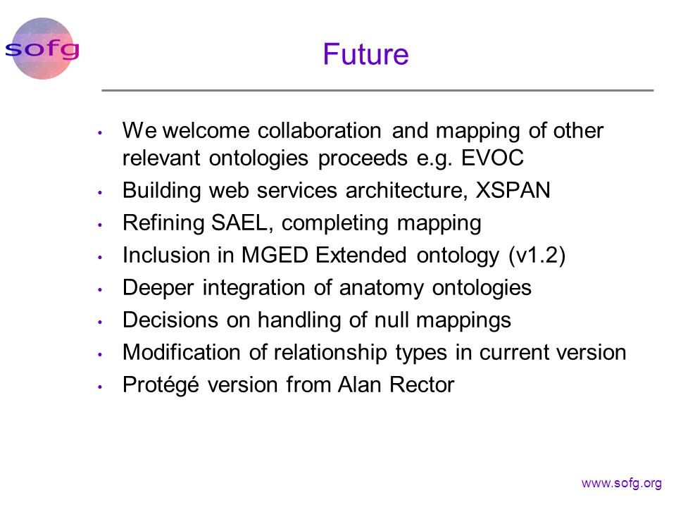 Future We welcome collaboration and mapping of other relevant ontologies proceeds e.g. EVOC. Building web services architecture, XSPAN.