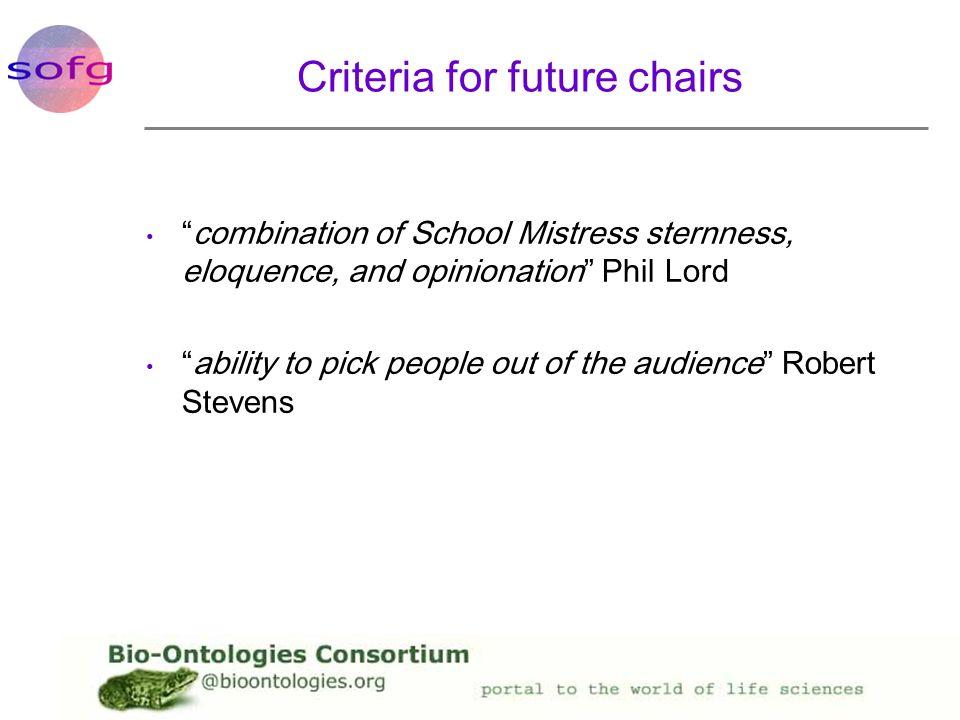 Criteria for future chairs